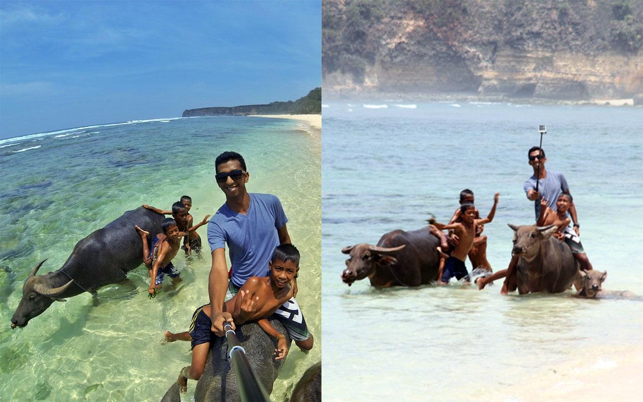 Selfie while riding buffalo on the beach!